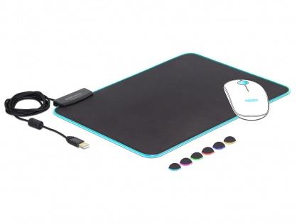 Mouse Pad 350 x 260 x 3 mm cu iluminare  RGB, Delock 12554