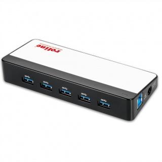 HUB cu 7 porturi USB 3.0, alimentare, Roline 14.02.5028