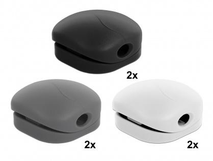 Set 6 buc clips cablu 2 albe/2 gri/ 2 negre, Delock 18299
