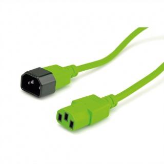 Cablu prelungitor alimentare IEC 320 C14 - C13 Verde 0.8m, Roline 19.08.1528