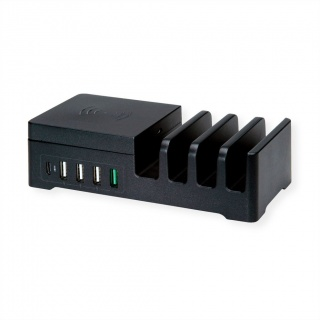 Statie de incarcare (incarcator priza) cu 5 x USB + Pad incarcare wireless 10W, Roline 19.11.1012