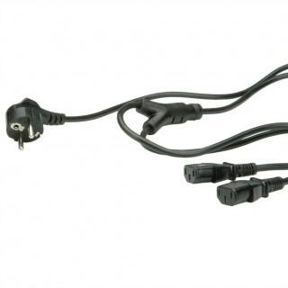Cablu Y alimentare Schuko la IEC C13 PC & Monitor 1.8m, 19.99.1022