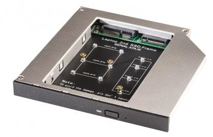 "Installation frame (Caddy) 5.25"" pentru M.2 NGFF si mSATA (12.7mm), Lindy L20929"