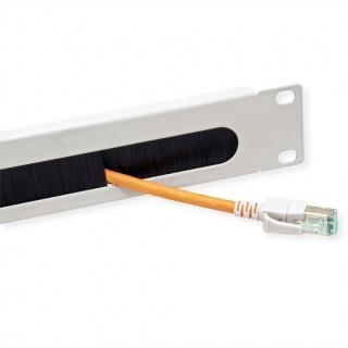 "Panou cabluri cu perii ghidaj 19"" 1U RAL7035 Gri deschis, Value 26.99.0313"