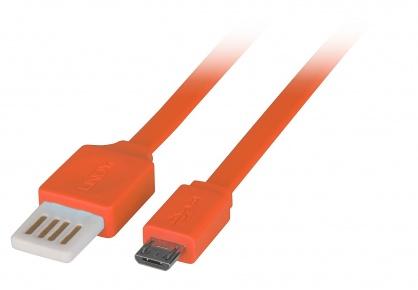 Cablu USB 2.0 la micro USB-B Flat reversibil 0.5m Orange, Lindy L30895