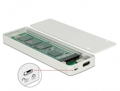 Rack extern M.2 Key B 42/60/80 mm SSD la USB tip C cu protectie la scriere, Delock 42599