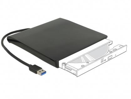 """Enclosure extern pentru dispozitive 5.25"""" Slim SATA 12.7 mm la USB-A Negru, Delock 42602"""