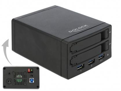 """Rack extern pentru 2 x 2.5"""" SATA HDD / SSD cu RAID + HUB 3 x USB 3.0, Delock 42606"""