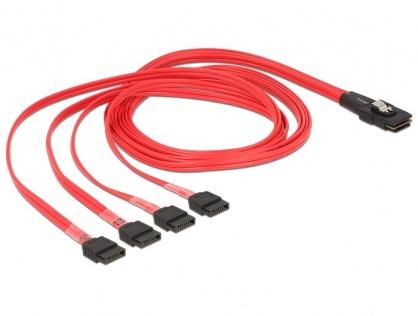 Cablu Mini SAS SFF-8087 la 4 x SATA 1m, Delock 83074