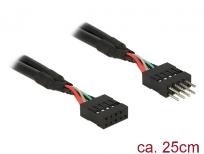 Cablu prelungitor pin header USB 2.0 10 pini T-M 25cm, Delock 83873