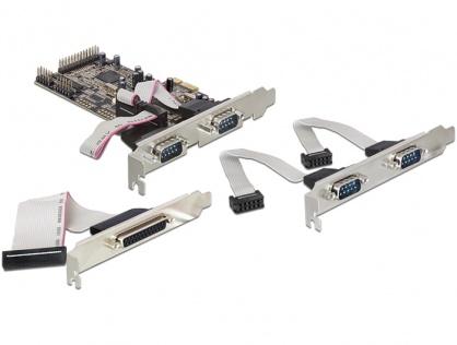 PCI Express 4 X Serial RS232 + 1 X paralel DB25, Delock 89177