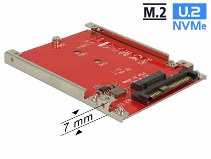 """Convertor 2.5"""" U.2 SFF-8639 la M.2 NVMe Key M 7 mm, Delock 62725"""