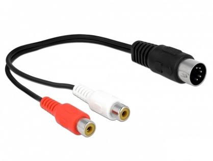 Adaptor dioda DIN 5 pini la 2 x RCA T-M 20cm, Delock 85835