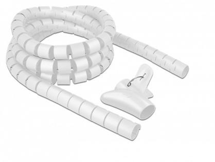 Organizator cabluri spiralat 2.5m x 30mm Alb, Delock 18842