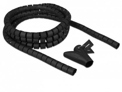 Organizator cabluri spiralat 2.5m x 25mm Negru, Delock 18837