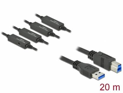 Cablu USB 3.2 Gen 1-A la USB-B activ T-T 20m Negru, Delock 85382