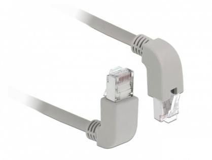 Cablu de retea RJ45 cat 6 S/FTP LSOH unghi jos/unghi sus 0.5m Gri, Delock 85861