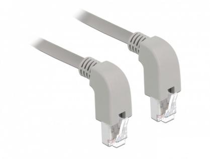 Cablu de retea RJ45 cat 6 S/FTP LSOH unghi jos 0.5m Gri, Delock 85867