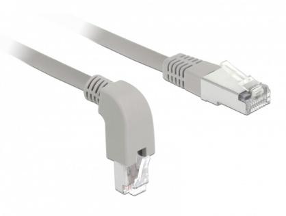 Cablu de retea RJ45 cat 6 S/FTP LSOH unghi jos/drept 2m Gri, Delock 85866