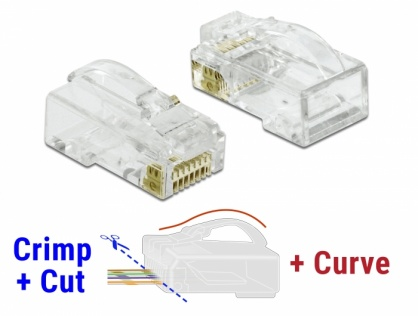 Set 20 buc conector RJ45 Cat.6 UTP Crimp+Cut+Curve, Delock 86473