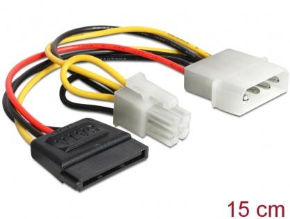 Cablu de alimentare Molex la SATA 15 pini + P4 15cm, Delock 60127