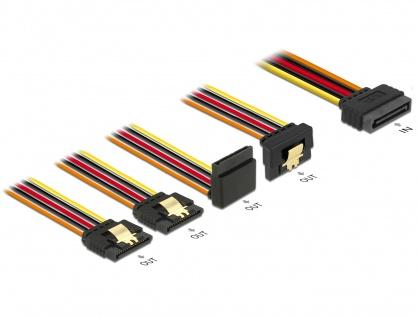 Cablu de alimentare SATA 15 pini la 2 x SATA drepte + 1 x unghi sus + 1 x unghi jos 30cm, Delock 60148