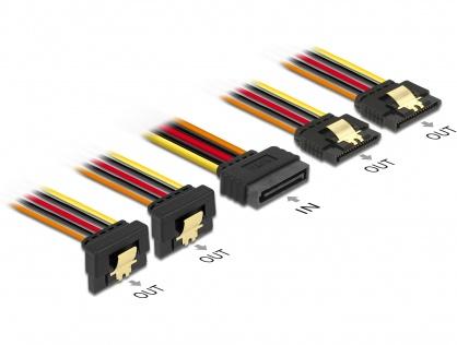 Cablu de alimentare SATA 15 pini la 2 x SATA drept + 2 x SATA unghi jos 30cm, Delock 60151