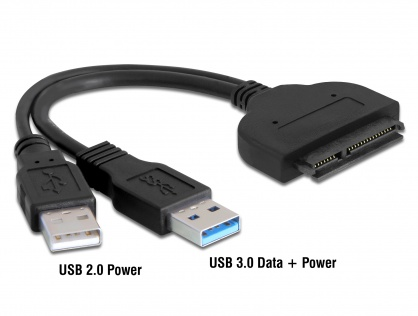 """Adaptor USB 3.0 la SATA 22 pini 2.5"""" HDD/SSD, Delock 61883"""