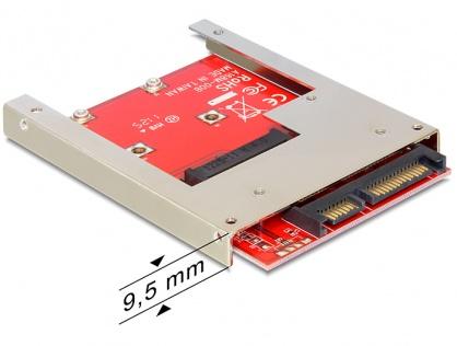 Adaptor SATA 22 pini la mSATA 9.5mm full size, Delock 61892