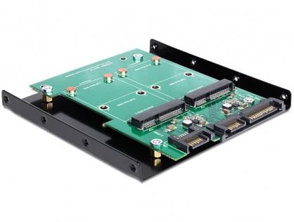 """Convertor SATA 22 pini + 7 pini la 2 x mSATA frame 3.5"""", Delock 62480"""