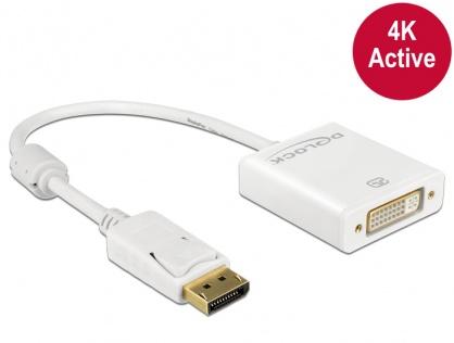 Adaptor Displayport la DVI T-M 1.2 4K Activ Alb, Delock 62600