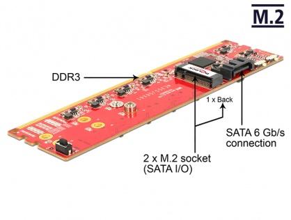 Adaptor DDR3 la Dual SATA 6Gb/s RAID Module - 2 x M.2 NGFF, Delock 62622