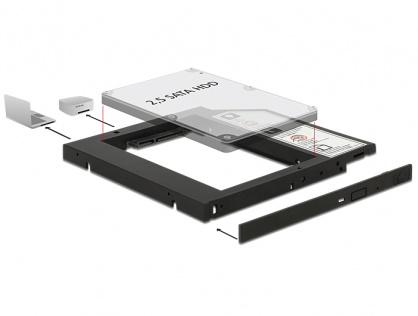 "Installation Frame (Caddy) 10mm Slim SATA 5.25 pentru 2.5"" SATA HDD 9.5mm, Delock 62669"