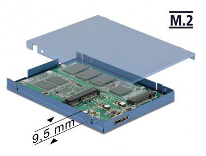 """Convertor micro-B USB 3.1 la M.2 SSD key B + mSATA cu rack extern 2.5"""" 9.5mm, Delock 62787"""