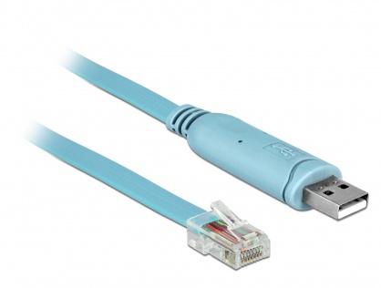 Cablu USB la Serial RS-232 RJ45 (pentru router Cisco) T-T 3m Bleu, Delock 63289