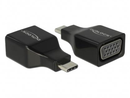 Adaptor USB-C la VGA (DP Alt Mode) T-M Negru, Delock 63933