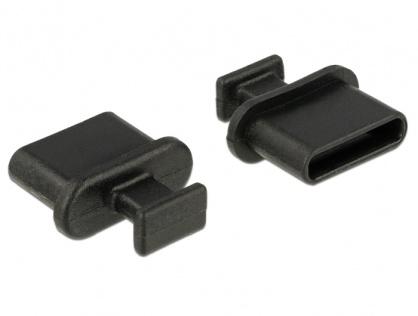 Protectie impotriva prafului pentru conector USB-C mama cu prindere Negru set 10 buc, Delock 64013