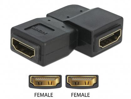 Adaptor HDMI M-M unghi 90 grade stanga, Delock 65078