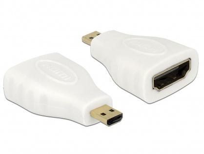 Adaptor HDMI la micro HDMI-D M-T Alb, Delock 65276