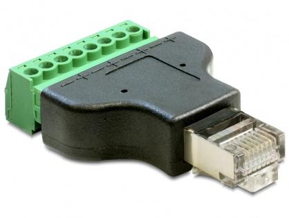 Adaptor RJ45 T la bloc terminal 8 pini, Delock 65389