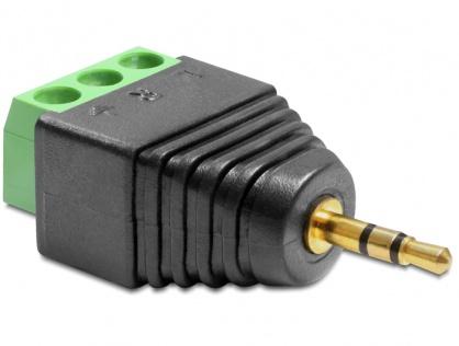 Adaptor jack Stereo Tata 2.5 mm la Bloc Terminal 3 pini, Delock 65420