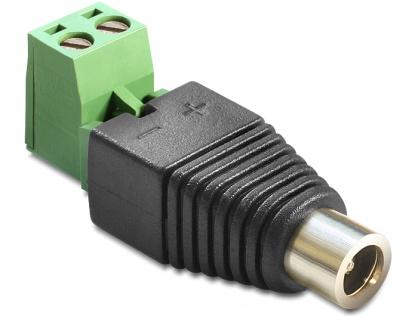 Adaptor DC 2.1 x 5.5 mm Mama la Bloc Terminal 2 pini, 2 parti, Delock 65423