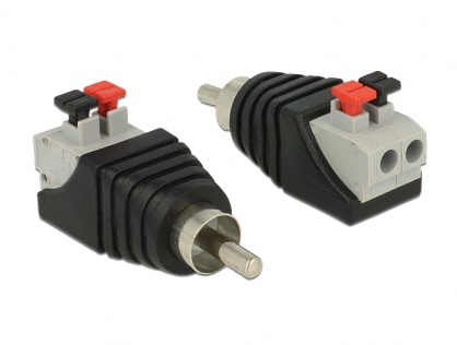 Adaptor RCA tata la terminal block cu buton apasare 2 pini, Delock 65566