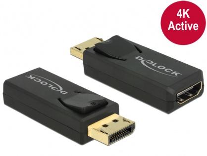 Adaptor Displayport 1.2 la HDMI T-M 4K Activ negru, Delock 65573