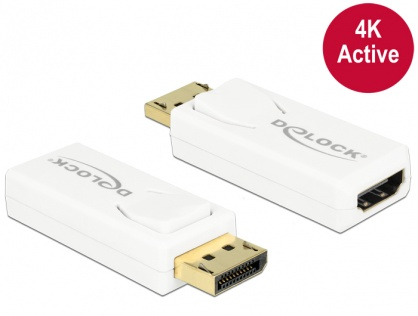 Adaptor Displayport 1.2 la HDMI T-M 4K activ alb, Delock 65580