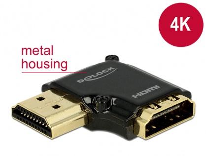 Adaptor HDMI-A T-M unghi 90 grade stanga 4K carcasa metalica, Delock 65660