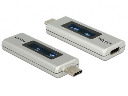 Adaptor USB-C PD (Power Delivery) cu indicator OLED pentru amperaj si voltaj, Delock 65844