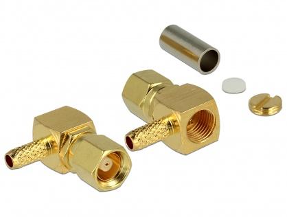 Conector SMC plug unghi 90 grade for crimping RG-174 / RG-316, Delock 65860