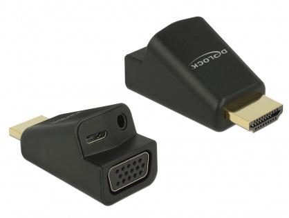 Adaptor HDMI la VGA cu audio si alimentare micro USB, Delock 65895