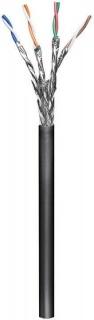 Rola cablu de retea cat.6 exterior S/FTP (PiMF) CCA 100m Negru, Goobay 57197